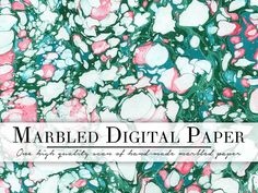 FREE!!! - This Week - Green & White Marbled Paper by MarbledPages on @creativemarket
