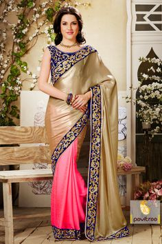 Pavitraa Net Floral Designer Camel and pink color Saree Rs 4707