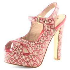 Dorothy Perkins raspberry and cream raffia platform peeptoe slingback shoes. Very D SS11. {I don't think they'd go with a single thing that I own, but still. I wants them SO. BAD.}