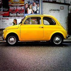 yellow Fiat 500