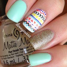 Matte Aztec nails!  @taylormarie432