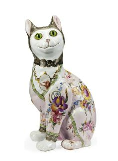 An Emile Gallé Faeince Model of a Cat, ca. 1900