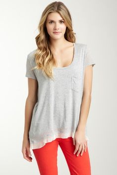 Short Sleeve Scoop Neck Ruffle T-Shirt