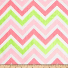 Minky Cuddle Zig Zag Paris Pink/Lime/Snow from @fabricdotcom  This Minky Cuddle Chevron fabric has an extremely soft 3mm pile that's perfect for baby accessories, blankets, throws, pillows and stuffed animals. Colors include baby pink, lime, snow white and Paris pink.