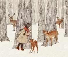 deer and girl 이미지