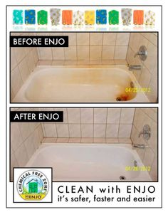 ENJO even cleans those rust stains. Chemical Free Cleaning, Cleaning Chemicals, Natural Cleaning Products, Cleaning Hacks, Bathtub, Rust, Stains, Facebook, Board