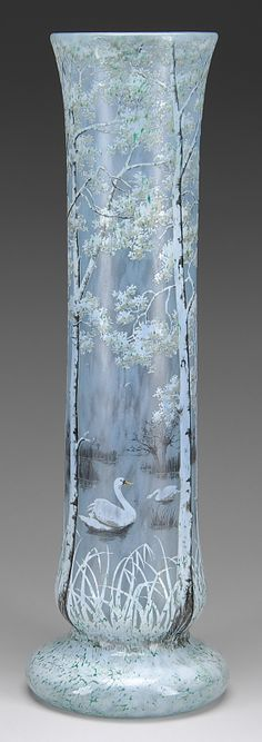 "French Cameo glass is highlighted by a magnificent and monumental 26"" Daum swan vase"