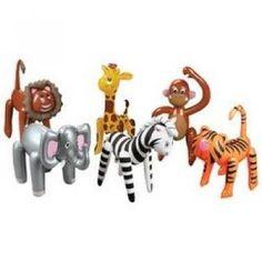 Amazon.com: 6 Inflatable ZOO ANIMALS/JUNGLE/Safari PARTY DECOR/Elephant/TIGER/LION/ZEBRA/MONKEY/GIRAFFE/INFLATES/DECORATIONS/PARTY FAVORS: Toys & Games