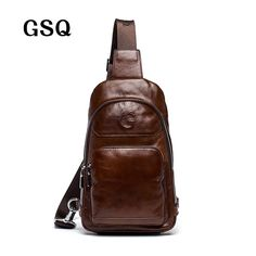 4f3a1e2e826a GSQ 2016 Hot Genuine Leather Men Shoulder Bag Fashion Trending Oil Wax Leather  Mens Crossbody Bag Coffee Chest bag Men Bags-in Crossbody Bags from Luggage  ...