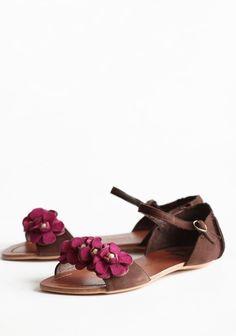 Blooming Arrival Floral Sandals In Mocha | Modern Vintage Shoes