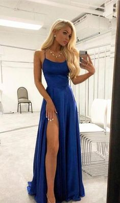 Royal Blue Sexy Prom Dress with Slit Evening Dress Winter Formal Dress Pageant Dance Dresses Graduation School Party Gown Royal Blue Prom Dresses, Pretty Prom Dresses, Prom Dresses For Teens, Black Prom Dresses, A Line Prom Dresses, Evening Dresses, Beauty Pageant Dresses, Dresses Dresses, Summer Dresses
