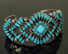 Zuni-Vintage-OLD-Pawn-DISHTA-Turquoise-Flush-INLAY-Heavy-Sterling-Cuff-Bracelet