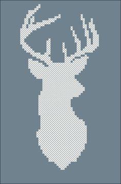 Ручная одежда Схема для вышивки крестом Силуэт оленя, олень, pdf-file