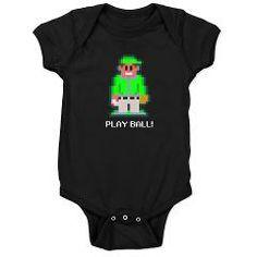 bit baseball green dark bodysuit > $18.49US > babybitbyte (cafepress.com/babybitbyte) #8bit #babybitbyte #ball #baseball #beisbol #gamer #games #geek #homerun #innings #mitt #nerd #nes #pixel #pixels #pixelart #pixle #playball #retro #sports #videogames
