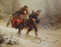 Knud Bergslien  (1827 - 1908) Skiing Birchlegs Crossing the Mountain with the Royal Child. 1869