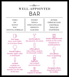 ESENCIALES EN TU MUEBLE BAR (the well-appointed bar)
