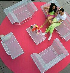 Karim Rashid patio, Mr. And Mrs. Karin Rashid modeling terrace, poolside furniture design, mod wishes