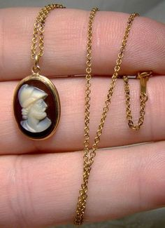 19thC 12K Carved Sardonyx Pericles Cameo Pendant on 14K Chain