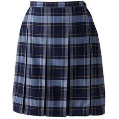 School Uniform Plaid Box Pleat Skirt Top of the Knee from Lands' End ❤ liked on Polyvore featuring skirts, tartan skirt, tartan plaid skirt, plaid skirt, lands end skirts and blue plaid skirt