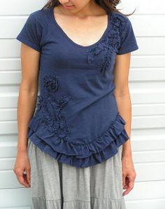 This free sewing pattern will have you swimming in ruffle heaven! Learn how to turn a plain tee into a cute ruffled and beaded shirt.