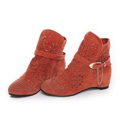Big Size Buckle Rivet Beaded Hollow Out Ankle Flat Boots - Gchoic.com #shoes #fashion #boots #popular #discount #cheap #under20 #warm #winter