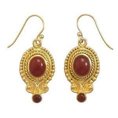 Carnelian Earrings with Rope Design 14k Yellow Gold on Sterling Silver AzureBella Jewelry. $89.10. FREE jewelry cleaning cloth with purchase of these earrings. 14k yellow gold plate on .925 sterling silver. Jewelry gift box included. Genuine, natural stones. Drop length of 40mm