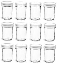 Nakpunar 12 pcs 8 oz Mason Jars with White Lids Nakpunar https://www.amazon.com/dp/B01N7PLJD5/ref=cm_sw_r_pi_dp_x_yc4EzbHC7YQXB