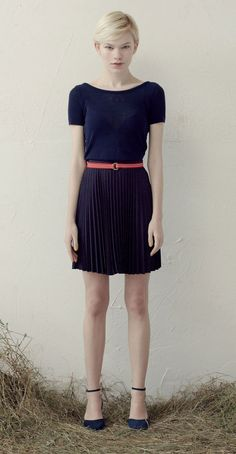 Betina Lou S/S 013 Collection - Short Knit Top Kirsten Navy & Léonie Skirt Navy/Red