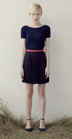 Betina Lou S/S 013 Collection - Short Knit Top Kirsten Navy & Léonie Skirt Navy/Red