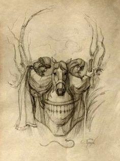 Optical illusion skull