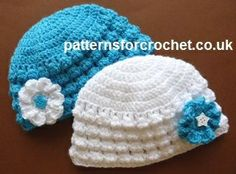 Free baby crochet pattern newborn flowered beanie usa