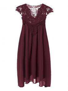 Plus Size Lace Chiffon Dress