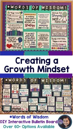 Creating a Growth Mindset Interactive Bulletin Board with Self-Reflection Questions #wordsofwisdom