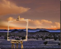 Easel in Nevada Sunset by   Richard Desmarais 47.5 x 38 in Stretched Canvas   Print  $482.99