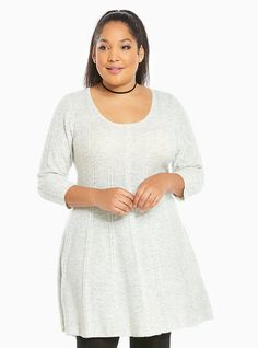 Plus Size Cable Knit Fluted Skater Dress, OATMEAL HEATHER