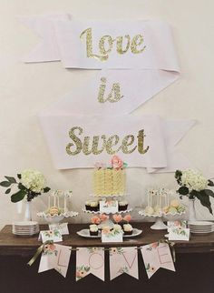 Love sure is sweet, and so is that glittered ribbon banner! See the details here as well as how to make the decor, photographed and created by Cacao Sweets and Treats.