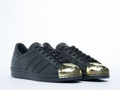Adidas Originals Superstar 80s Metal Toe Sneakers in Black Gold at Solestruck.com