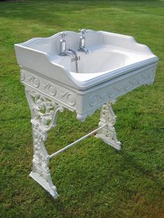 An excellent example of an original antique Victorian bathroom sink basin with cast iron stand  #victoriansink #antiquesanitaryware #victorianbathroom