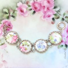 Broken China Jewelry. Broken China Bracelet, Statement Jewelry, Royal China, Pink and Blue Flower China, Recycled, Link, Antique China