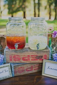 i like the idea of lemonade or iced tea, ect. in these giant mason jar pitchers with spouts! i saw them at willjam sanoma  http://www.lovelylittledetails.com