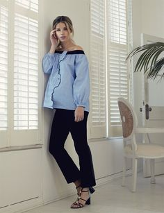 Baby London Magazine - Nine in the Mirror fashion shoot. Vivetta blue off-the-shoulder blouse