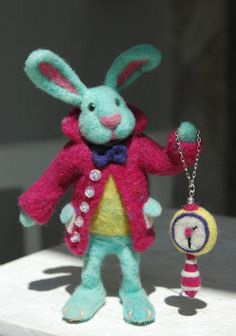 Mr Alice in Wonderland Needle felted Rabbit by GreenDotCreationsGr