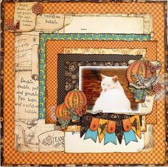 Loving this Steampunk Spells LO by Romy Veul! Precious kitty and beautiful layering! #Graphic45 #layouts #scrapbooking