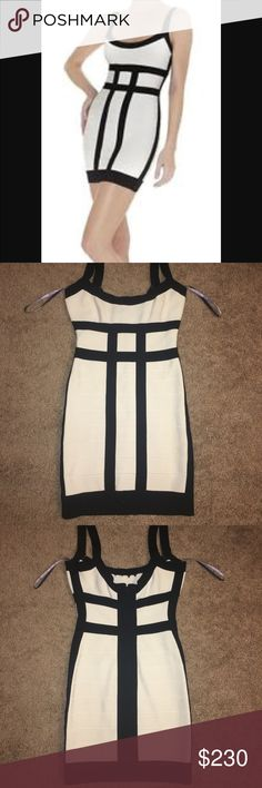 7c0ba74157 Authentic White  amp  Black Herve Leger Nernia Dress Beautiful authentic  white Herve Leger dress with