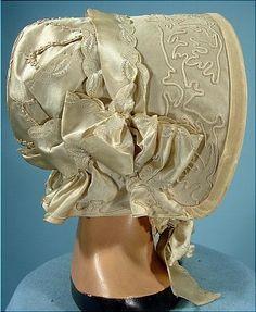 c. 1845 Ivory Soutache on Satin and Brocade Ribbon Wedding Bonnet