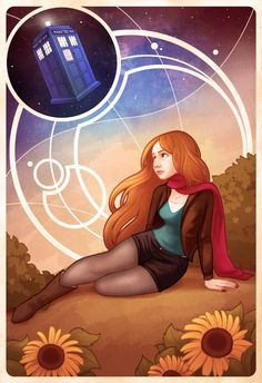 """chelseakenna: """" """"The Girl Who Waited"""" My piece for the Doctor Who Tribute Show at Meltdown Comics! I felt like doing something somewhat Mucha-inspired, incorporating Gallifreyan-esque designs. Doctor Who Fan Art, Doctor Who Amy Pond, Ligne Claire, 11th Doctor, Karen Gillan, Film Serie, The Girl Who, Dr Who, Superwholock"""