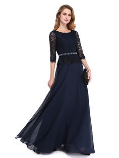 2017 Lanting Bride® A-line Mother of the Bride Dress - Elegant Floor-length 3/4 Length Sleeve Chiffon / Lace with Beading / Sash / Ribbon - USD $89.99
