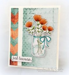 Bellarific Friday with Stamping Bella May 5th 2017- stamp used- MASON JAR OF FLOWERS card by Michele Boyer