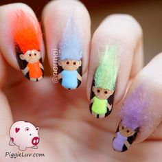 Do you remember those little troll dolls that were all the rage in the 60's and then again in the 90's? Here's the crazy 3D nail art version of them! NOT for actual wear, they were just for fun!