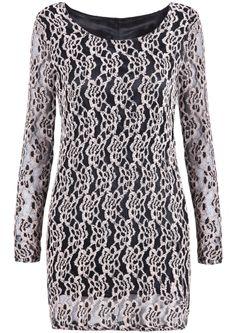Apricot Long Sleeve Embroidered Lace Slim Dress - Sheinside.com